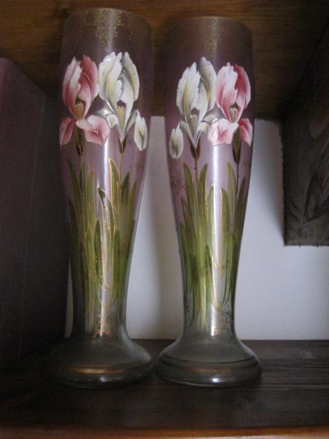 Coppia di vasi in vetro liberty dipinti 1904 legras for Vasi ermetici vetro